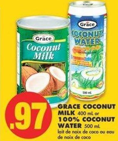Grace Coconut Milk 400 Ml Or 100% Coconut Water 500 Ml