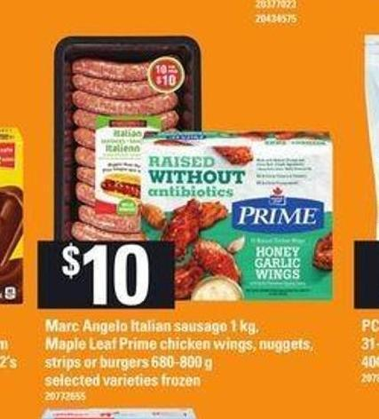 Marc Angelo Italian Sausage 1 Kg - Maple Leaf Prime Chicken Wings - Nuggets - Strips Or Burgers 680-800 G