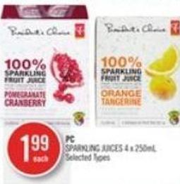 PC Sparkling Juices 4 X 250ml