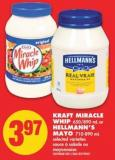 Kraft Miracle Whip - 650/890 mL or Hellmann's Mayo - 710-890 mL