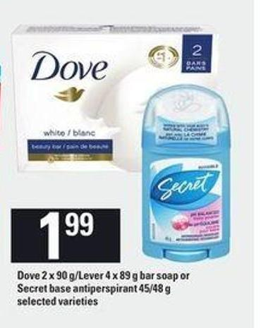 Dove - 2 X 90 G/lever - 4 X 89 g Bar Soap Or Secret Base Antiperspirant - 45/48 g