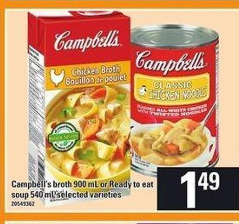 Campbell's Broth 900 Ml Or Ready To Eat Soup - 540 mL