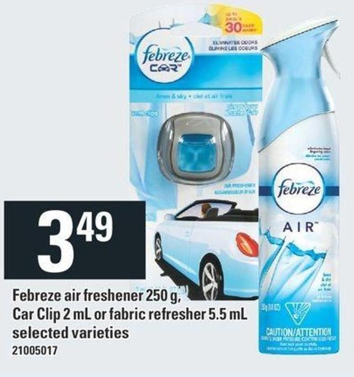 Febreze Air Freshener 250 g - Car Clip 2 mL Or Fabric Refresher 5.5 mL
