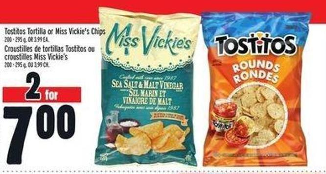 Tostitos Tortilla Or Miss Vickie's Chips