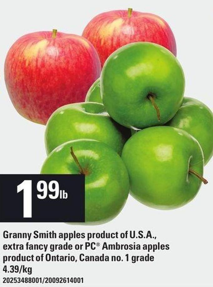 Granny Smith Apples Or PC Ambrosia Apples