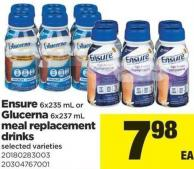 Ensure - 6x235 Ml Or Glucerna - 6x237 Ml Meal Replacement Drinks