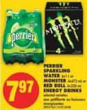 Perrier Sparkling Water - 6x1 L or Monster - 4x473 mL or Red Bull - 4x250 mL Energy Drinks