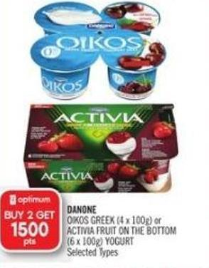 Danone  Oikos Greek (4 X 100g) or Activia Fruit On The Bottom (6 X 100g) Yogurt