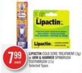 Lipactin Cold Sore Treatment (3g) or Arm & Hammer Spinbrush Toothbrush (1's)