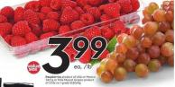 Raspberries Product of USA or Mexico 340 g or Pink Muscat Grapes Product of Chile No 1 Grade