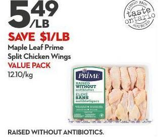 Maple Leaf Prime Split Chicken Wings Value Pack 12.10/kg