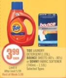 Tide Laundry Detergent(1.09l) - Bounce Sheets (40's - 80's) or Downy Fabric Softener (740ml - 1.53l)