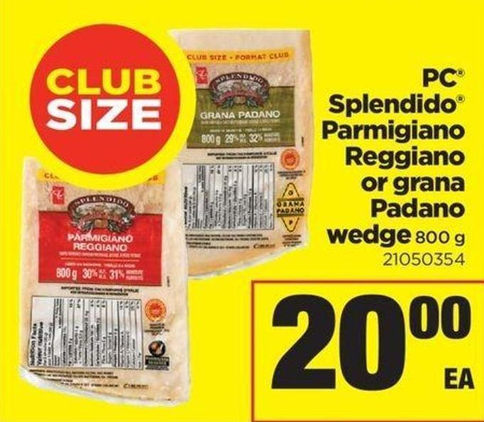 PC Splendido Parmigiano Reggiano Or Grana Padano Wedge - 800 g