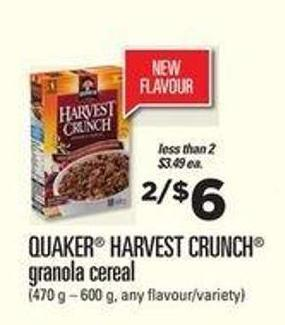 Quaker Harvest Crunch Granola Cereal - 470 G – 600 G