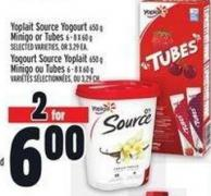 Yoplait Source Yogourt 650 g Minigo Or Tubes 6 - 8 X 60 g