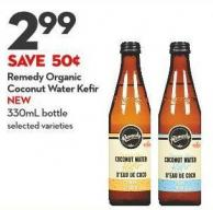 Remedy Organic  Coconut Water Kefir  New 330ml Bottle