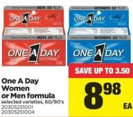 One A Day Women Or Men Formula - 60/90's