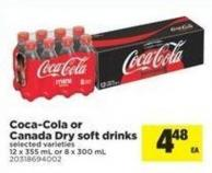Coca-cola or Canada Dry Soft Drinks - 12 X 355 mL or 8 X 300 mL