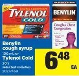 Benylin Cough Syrup 100 Ml Or Tylenol Cold 20's