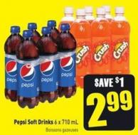 Pepsi Soft Drinks 6 X 710 mL