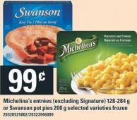 Michelina's Entrees - 128-284 g or Swanson Pot Pies - 200 g