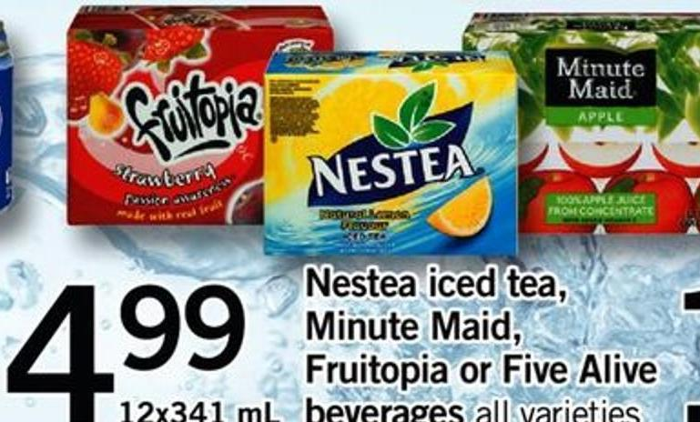 Nestea Iced Tea - Minute Maid - Fruitopia Or Five Alive Beverages - 12x341 Ml