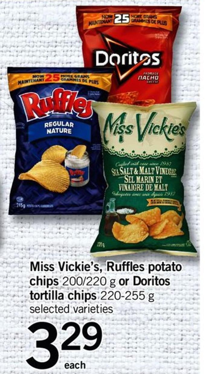 Miss Vickie's - Ruffles Potato Chips - 200/220 G Or Doritos Tortilla Chips - 220-255 G
