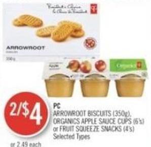PC Arrowroot Biscuits (350g) - Organics Apple Sauce Cups (6's) or Fruit Squeeze Snacks (4's)