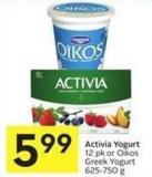 12 Pk or Oikos Greek Yogurt 625-750 g