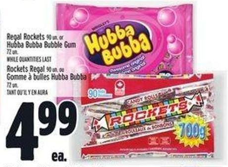Regal Rockets 90 Un. Or Hubba Bubba Bubble Gum 72 Un