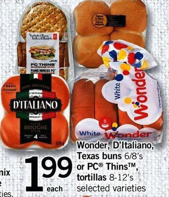 Wonder - D'italiano - Texas Buns - 6/8's Or PC Thins - Tortillas - 8-12's