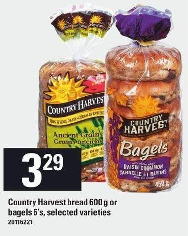 Country Harvest Bread 600 g Or Bagels 6's