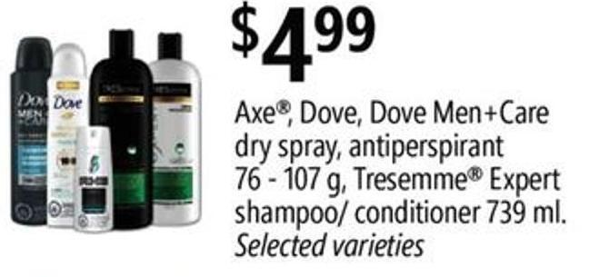 Axe - Dove - Dove Men+care Dry Spray - Antiperspirant - 76 - 107 G - Tresemme Expert Shampoo/ Conditioner - 739 Ml