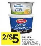 Gay Lea Sour Cream 425-500 mL or Kraft Dips 227 g