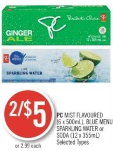 PC Mist Flavoured (6 X 500ml) - Blue Menu Sparkling Water or Soda (12 X 355ml)