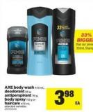 Axe Body Wash - 473 mL - Deodorant - 85 g - Antiperspirant - 76 g - Body Spray - 113 g Or Haircare - 473 mL
