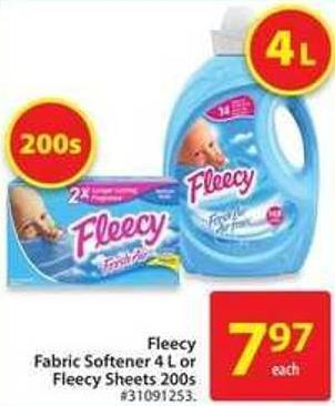 Fleecy Fabric Softener 4 L or Fleecy Sheets 200s