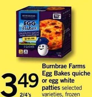Burnbrae Farms Egg Bakes Quiche Or Egg White Patties - 2/4's