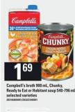 Campbell's Broth - 900 Ml - Chunky - Ready To Eat Or Habitant Soup - 540-796 Ml
