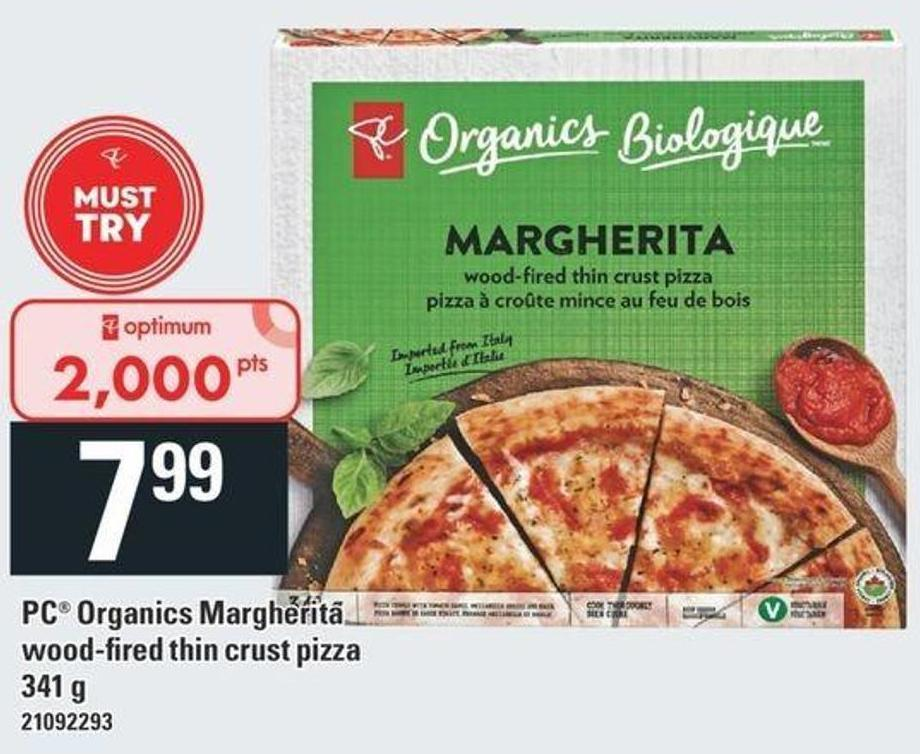 PC Organics Margherita Wood-fired Thin Crust Pizza - 341 g