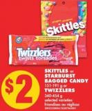 Skittles or Starburst Bagged Candy - 151-191 g or Twizzlers - 340-454 g