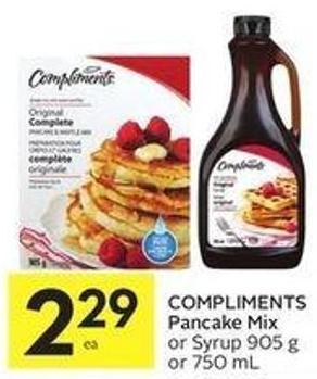 Compliments Pancake Mix or Syrup 905 g or 750 mL