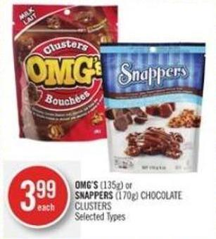 Omg's (135g) or Snappers (170g) Chocolate Clusters