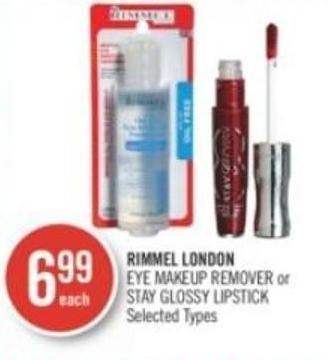 Rimmel London Eye Makeup Remover or Stay Glossy Lipstick