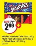 Nestlé Chocolate Cello 140-195 g Multi-pack Chocolate 160-200 g or Tablet Bars 140-170 g