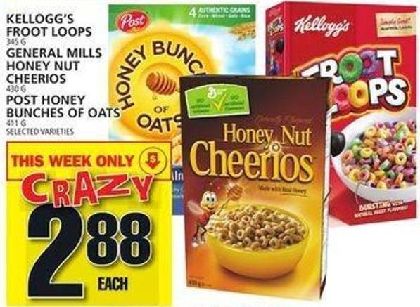 Kellogg's Froot Loops Or General Mills Honey Nut Cheerios Or Post Honey Bunches Of Oats