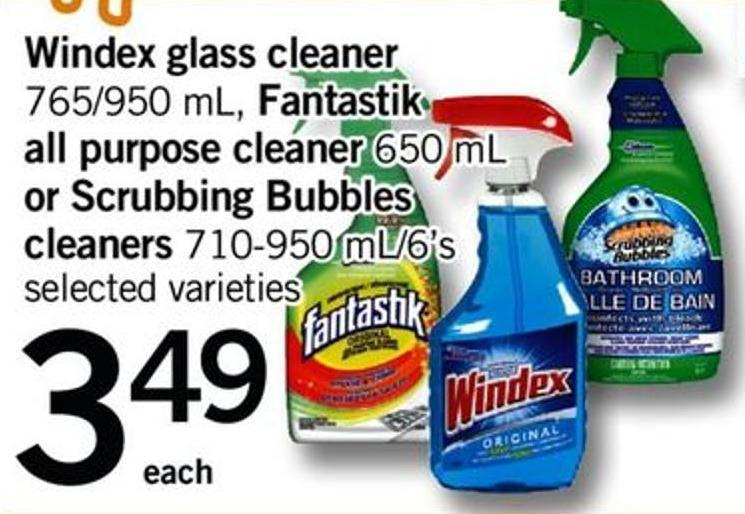 Windex Glass Cleaner - 765/950 Ml - Fantastik All Purpose Cleaner - 650 Ml Or Scrubbing Bubbles Cleaners - 710-950 Ml/6's