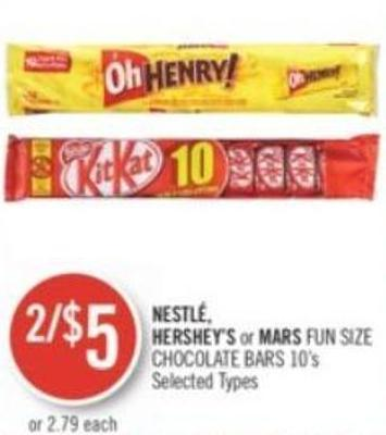 Nestlé - Hershey's or Mars Fun Size Chocolate Bars 10's