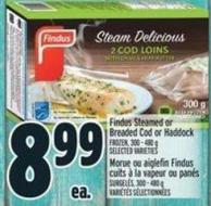Findus Steamed Or Breaded Cod Or Haddock Frozen - 300 - 480 g