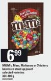 M&m's - Mars - Maltesers Or Snickers Bowl Size Stand Up Pouch - 324-400 G